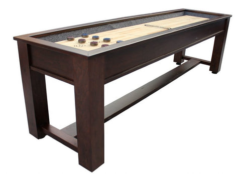 "Brown Wood Retro Berner ""The Rustic"" 9' Premium Shuffleboard Table"