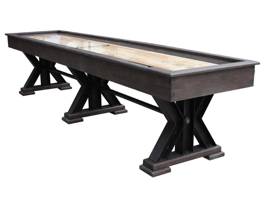 "Rustic Retro Berner 14' ""The Weathered"" Shuffleboard Table in Black Oak"
