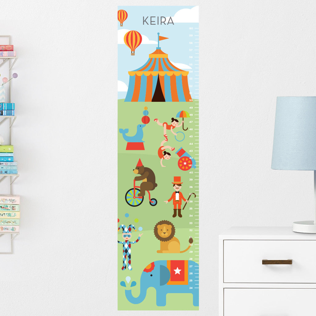 Circus Growth Chart Wall Decal (Personalized)