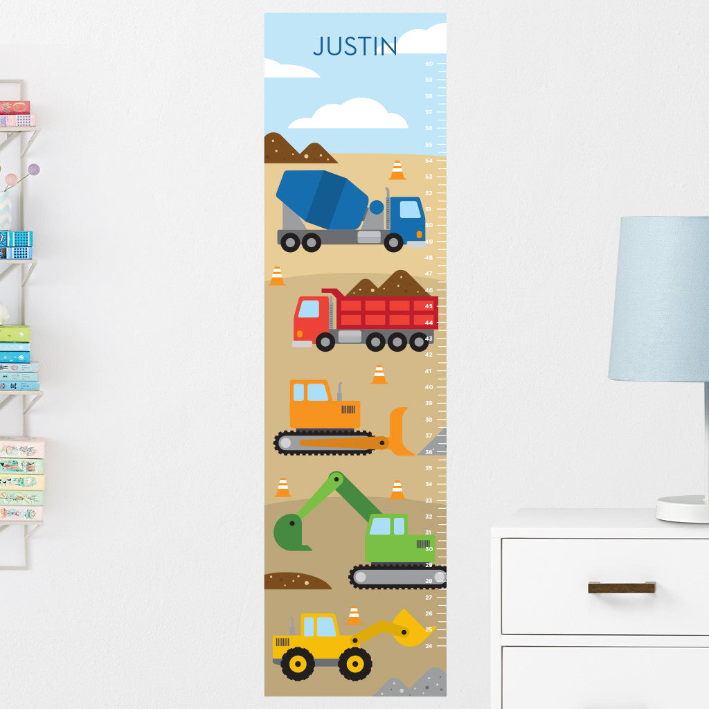 Construction Vehicles Growth Chart Wall Decal (Personalized)