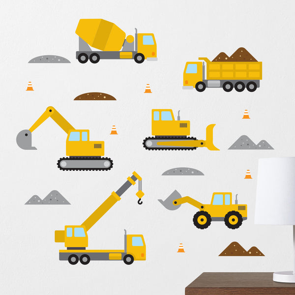 Yellow Construction Vehicle Wall Decals