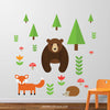 Woodland Animals Wall Decal with Bear, Fox and Hedgehog