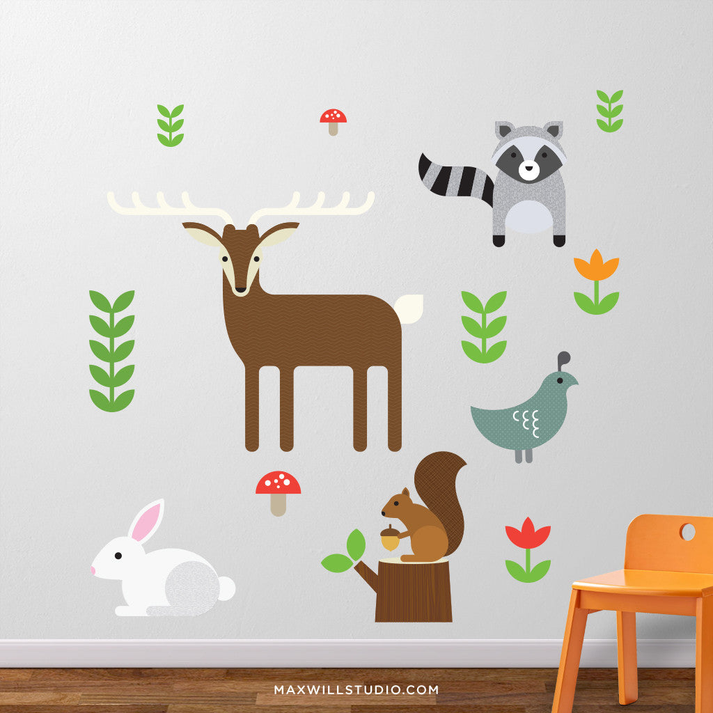 Woodland Animals Wall Decal with Deer, Squirrel, Raccoon and Rabbit