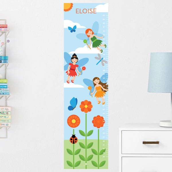Fairy Garden Growth Chart Wall Decal Personalized