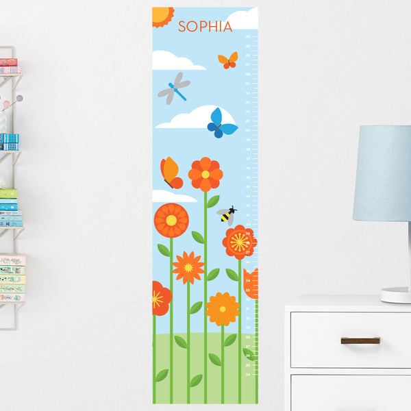 Flower Garden Growth Chart Wall Decal (Personalized)