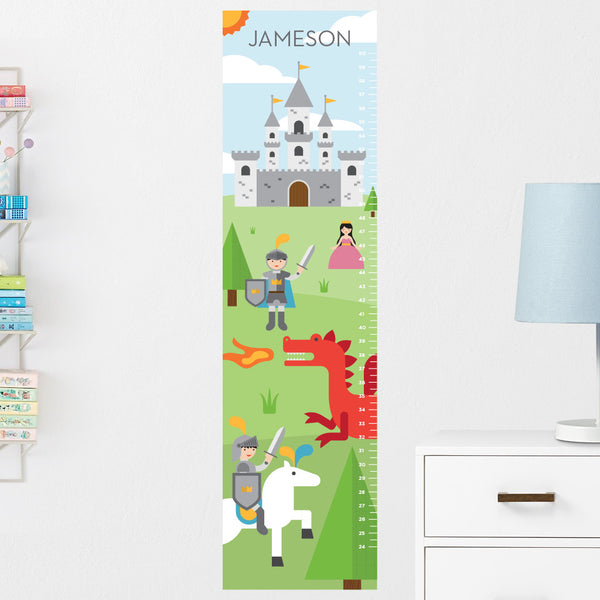 Knights & Dragons Growth Chart Wall Decal (Personalized)