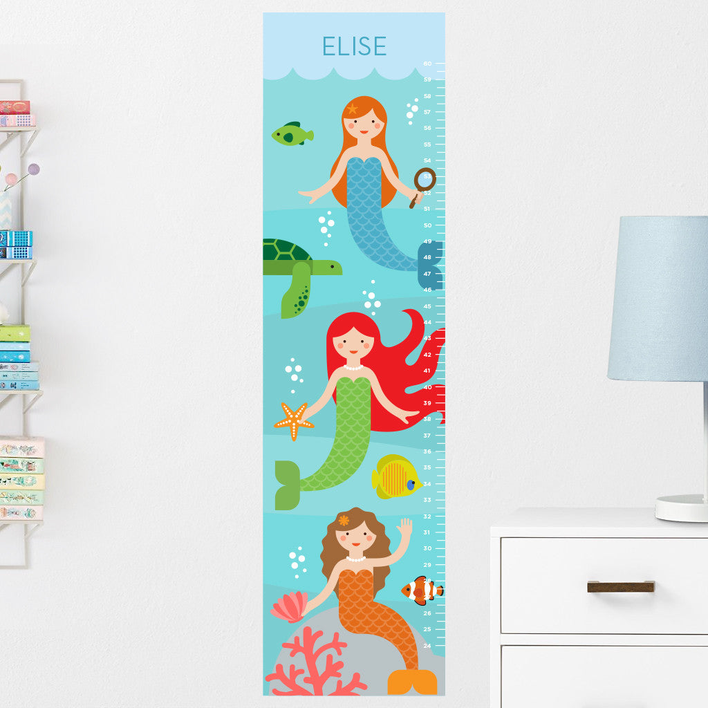 Mermaids Growth Chart Wall Decal (Personalized)