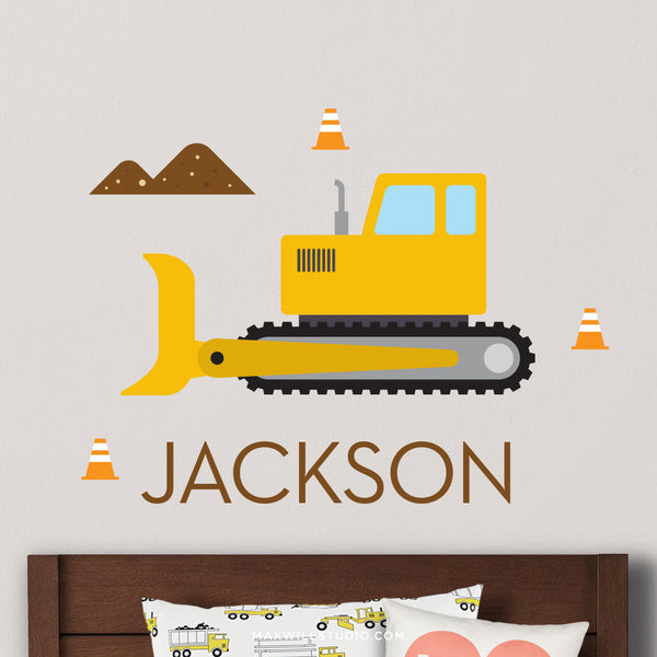 Bulldozer Wall Decal (Personalized)