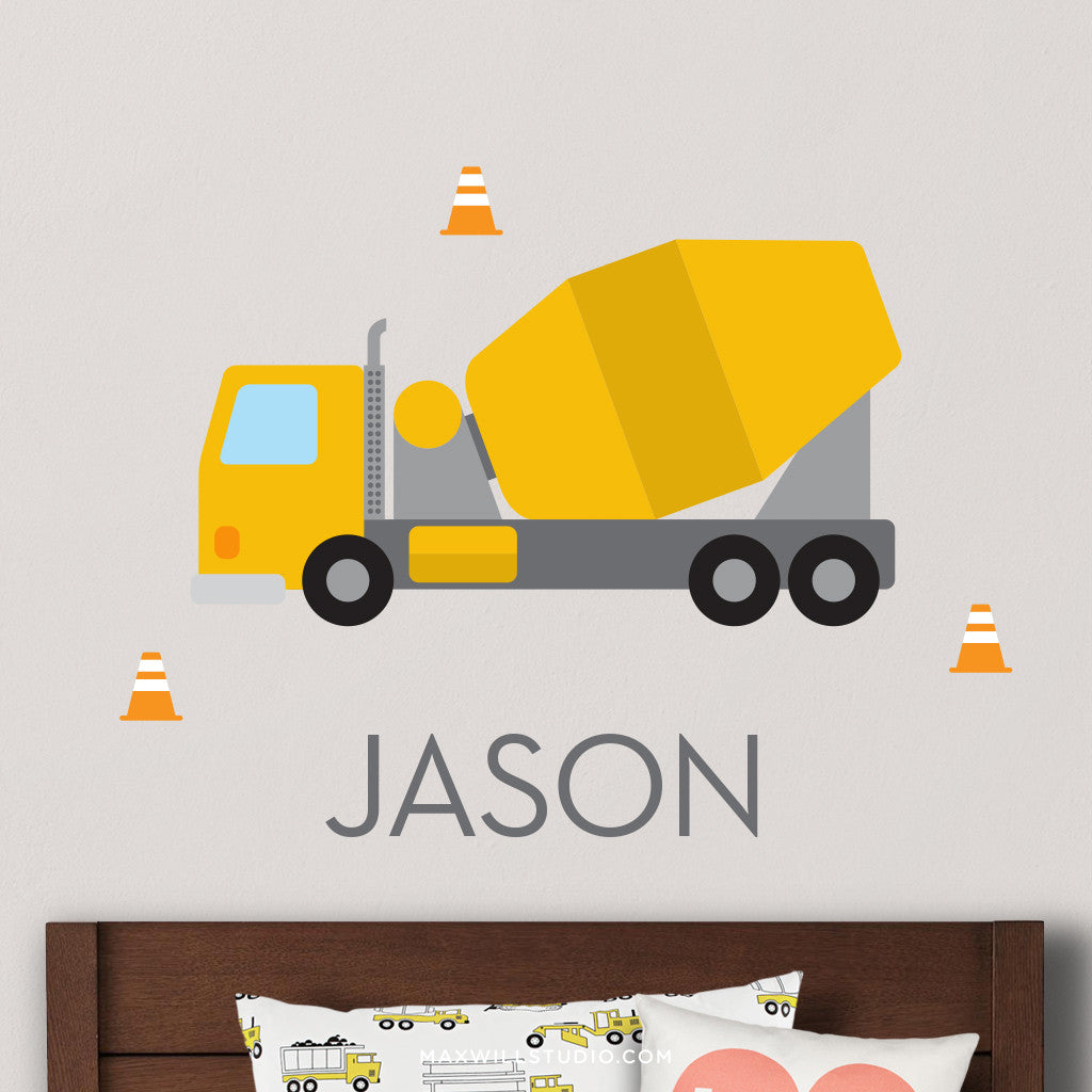 Cement Truck Wall Decal (Personalized)