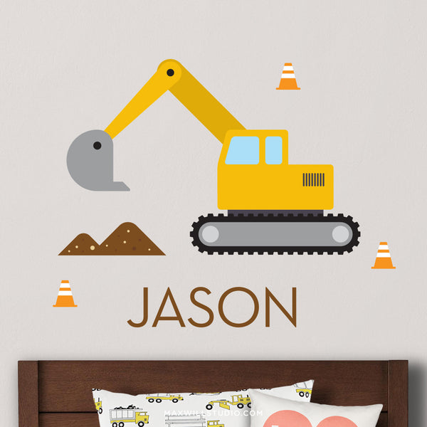 Digger Excavator Wall Decal (Personalized)