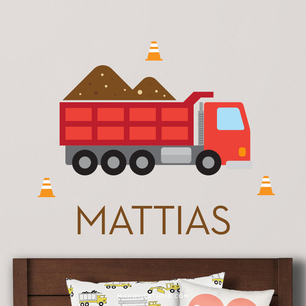 Red Dump Truck Wall Decal (Personalized)
