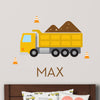 Dump Truck Wall Decal (Personalized) - Yellow