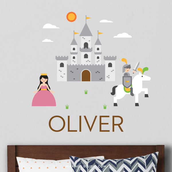 Knight and Castle Wall Decal (Personalized)