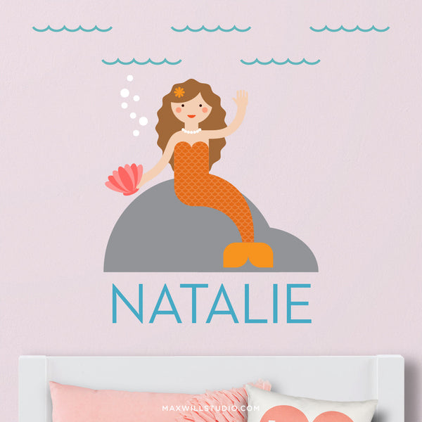 Sitting Mermaid Wall Decal (Personalized)