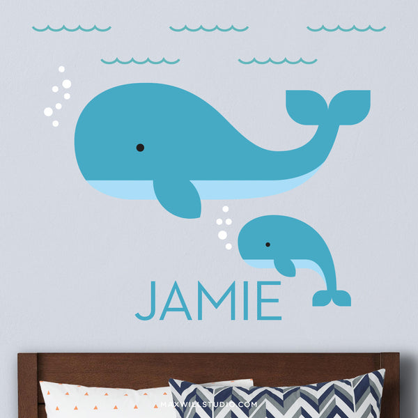 Mama and Baby Whale Wall Decal (Personalized)