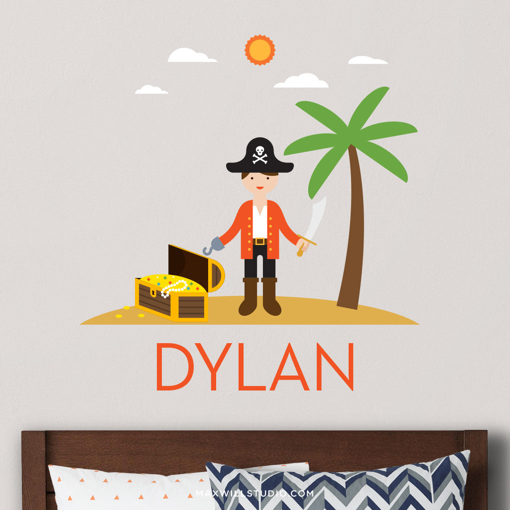 Pirate Captain Wall Decal (Personalized)