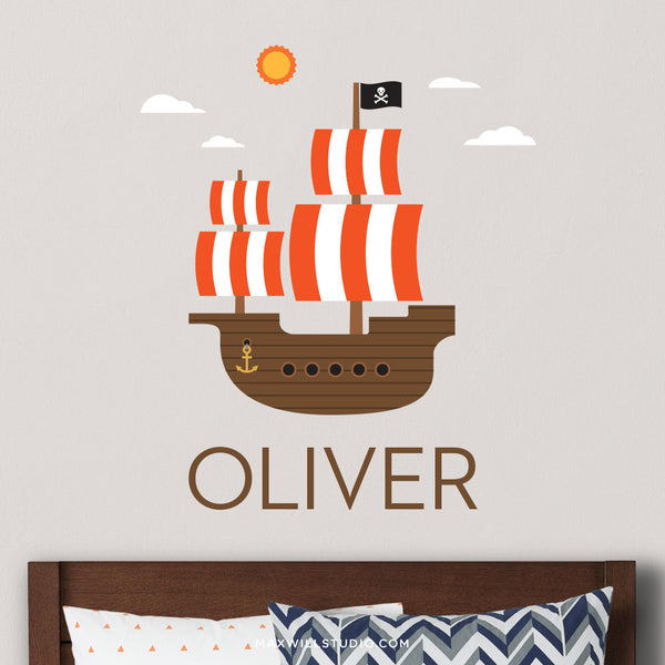 Pirate Ship Wall Decal (Personalized)