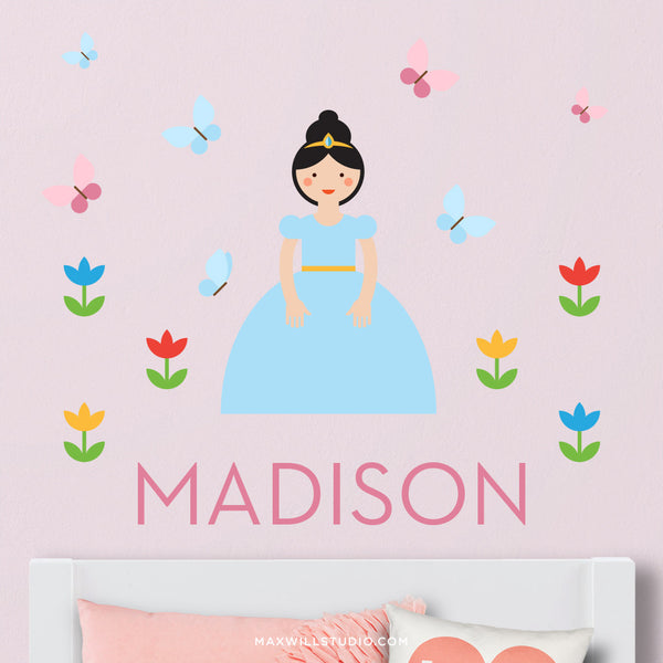 Princess with Blue Dress Wall Decal (Personalized)