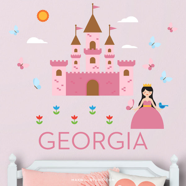 Princess And Castle Wall Decal (Personalized)