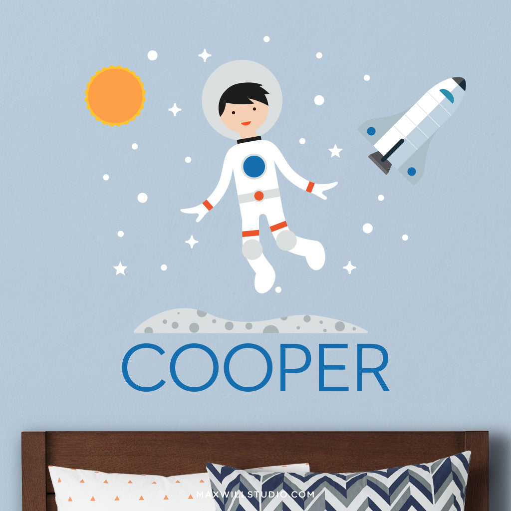 Spaceboy Wall Decal (Personalized) with Space Shuttle