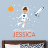 Spacegirl Wall Decal (Personalized) with Space Shuttle
