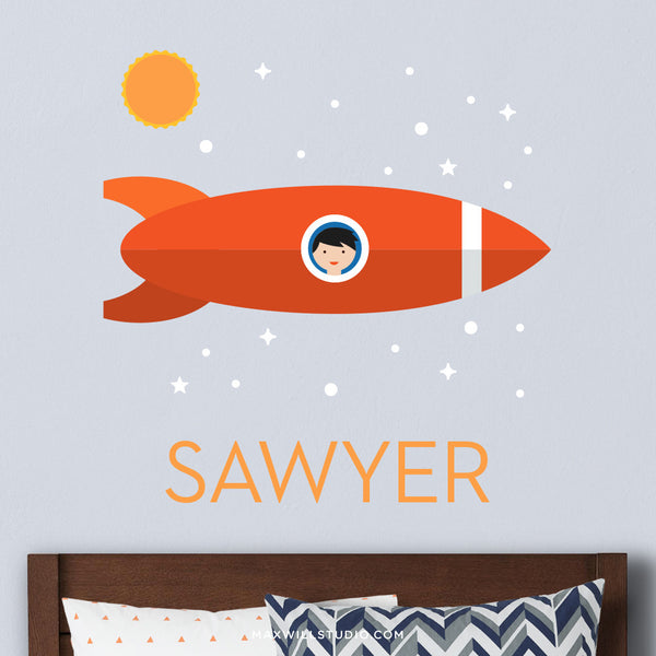 Space Rocket Wall Decal (Personalized) with Spaceboy