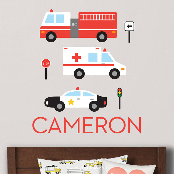 Emergency Vehicles Wall Decal (Personalized)