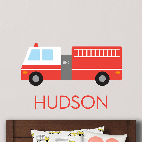Firetruck Wall Decal (Personalized)