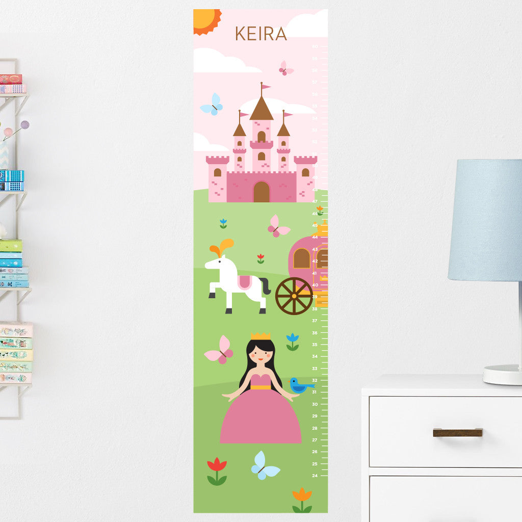 Princess Growth Chart Wall Decal (Personalized)