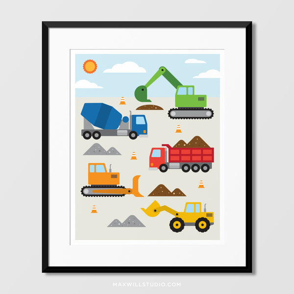 Construction Vehicles Wall Art (Color)