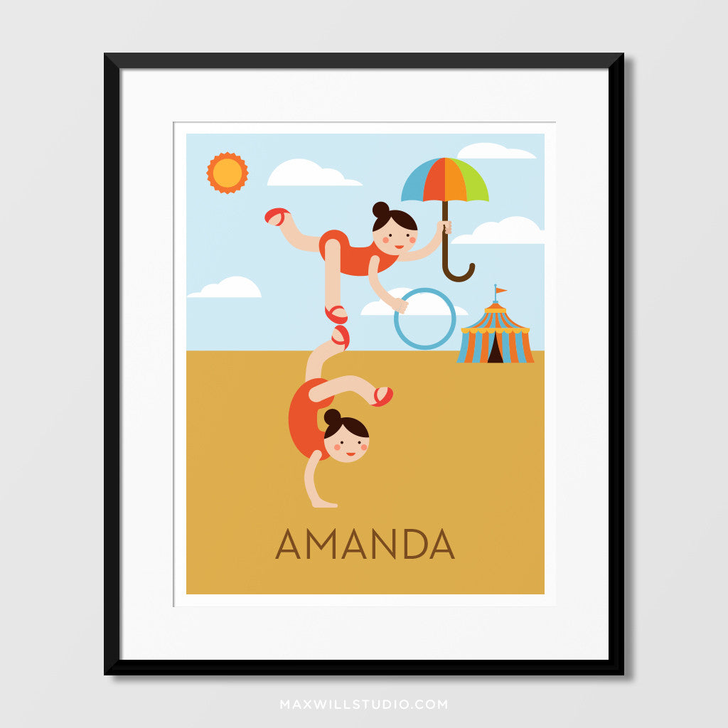 Circus Acrobats Wall Art (Personalized) – Maxwill Studio