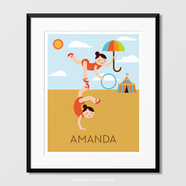 Circus Acrobats Wall Art (Personalized)