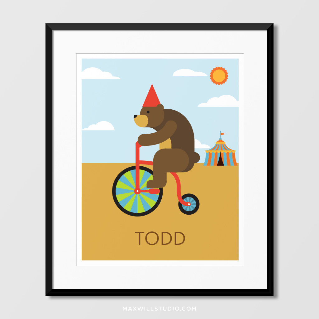 Circus Bear on Bike Wall Art (Personalized) – Maxwill Studio
