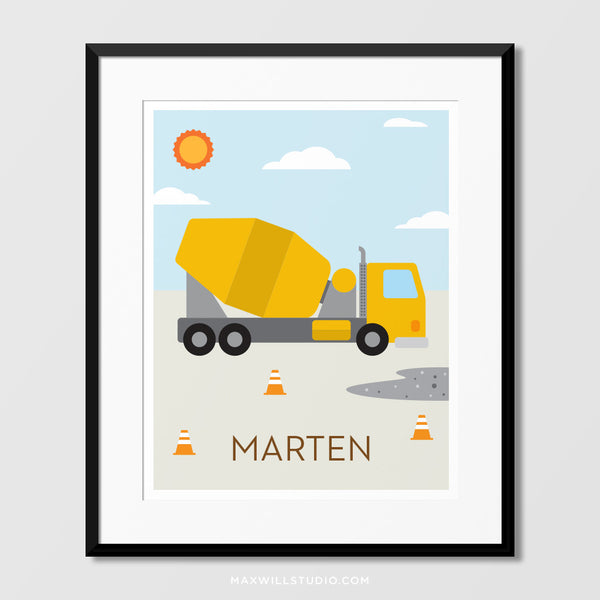 Cement Truck Wall Art (Personalized)