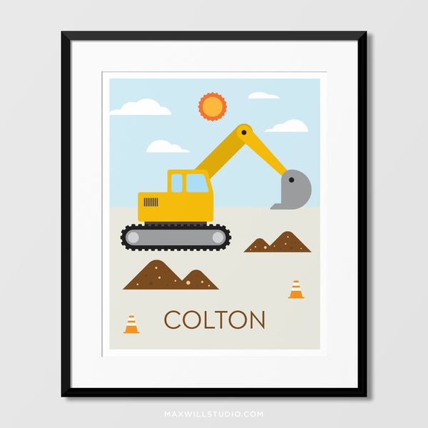 Digger Wall Art (Personalized)