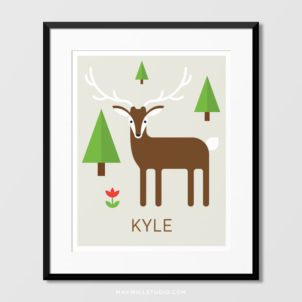 Woodland Deer Wall Art (Personalized)
