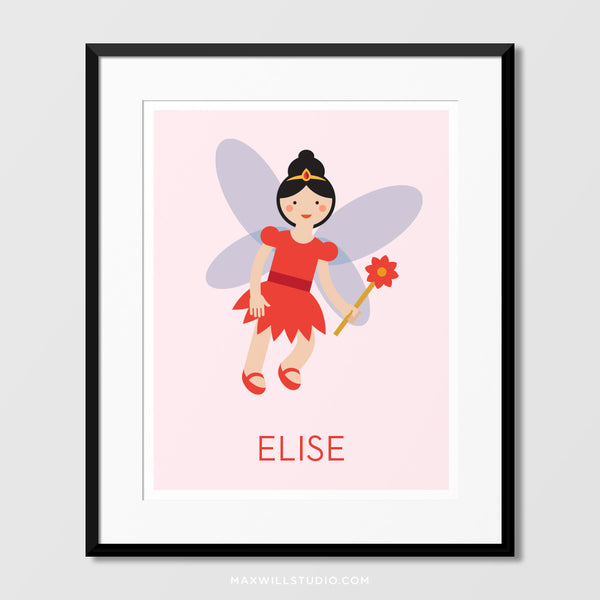 Red Fairy Wall Art (Personalized)