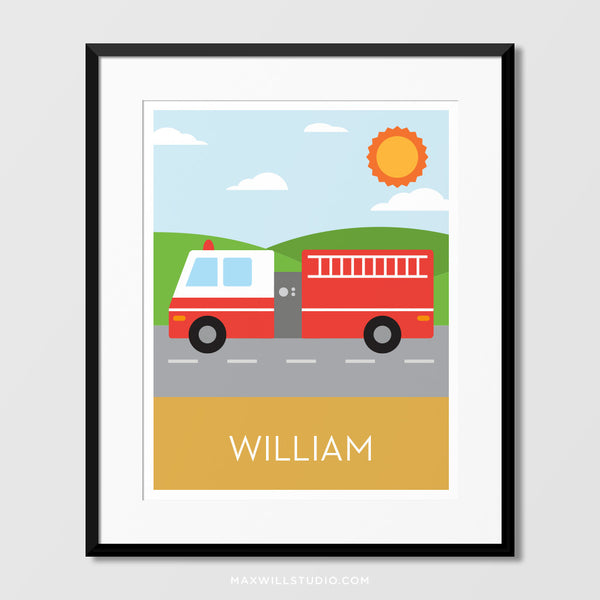 Fire Truck Wall Art (Personalized)
