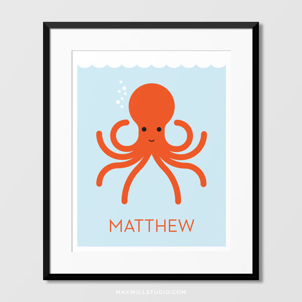 Happy Octopus Wall Art (Personalized)