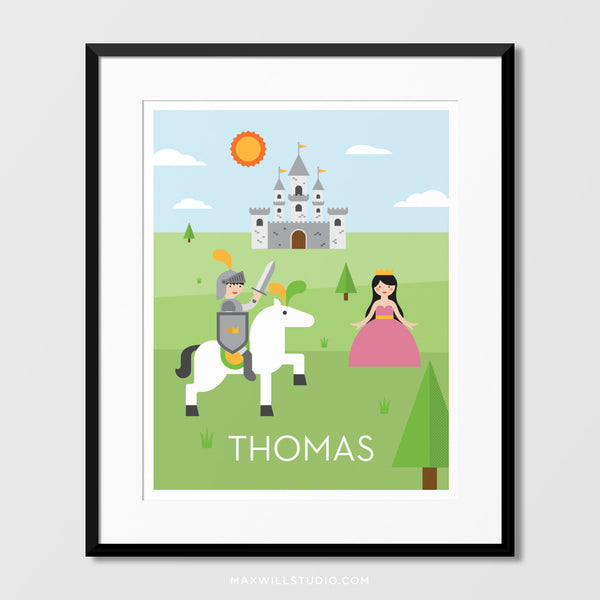 Knight & Castle Wall Art (Personalized)