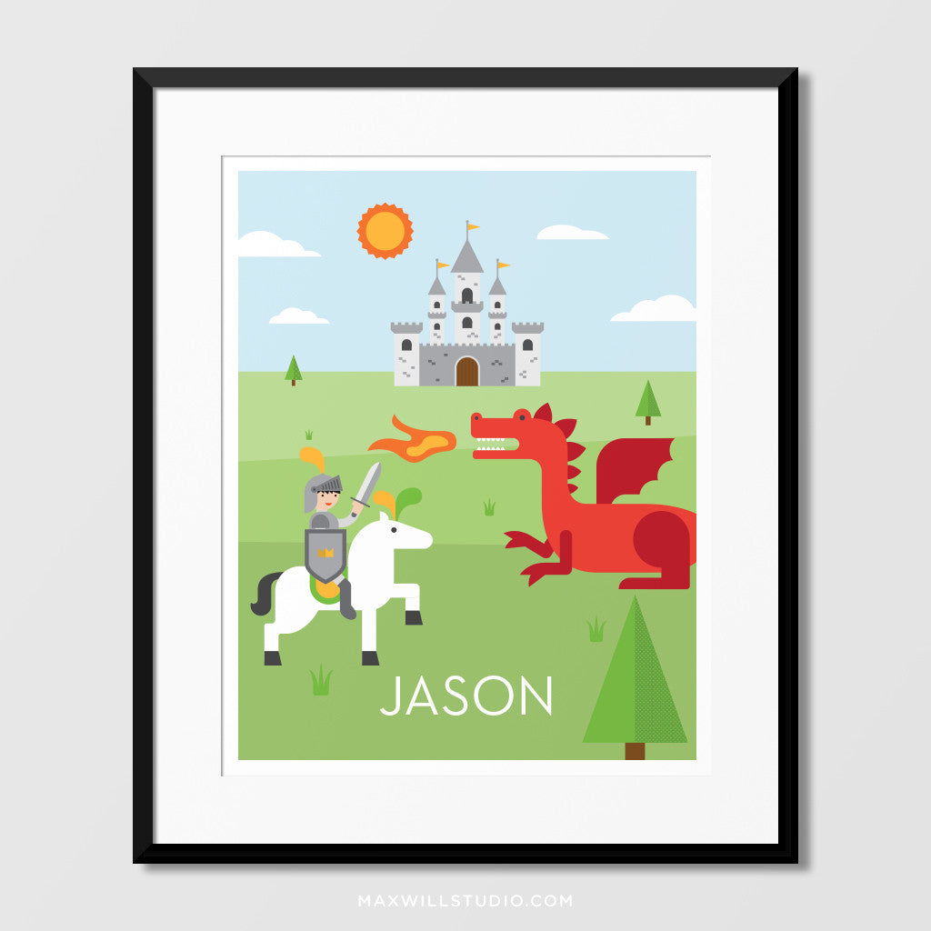 Knight U0026 Dragon Wall Art (Personalized)