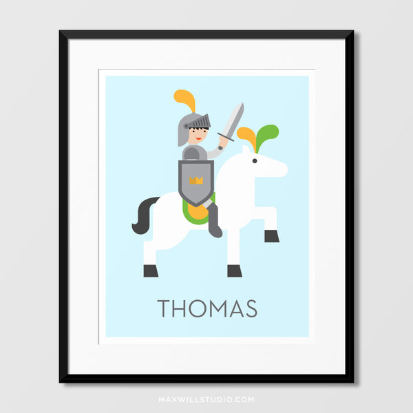 Knight on Horse Wall Art (Personalized)