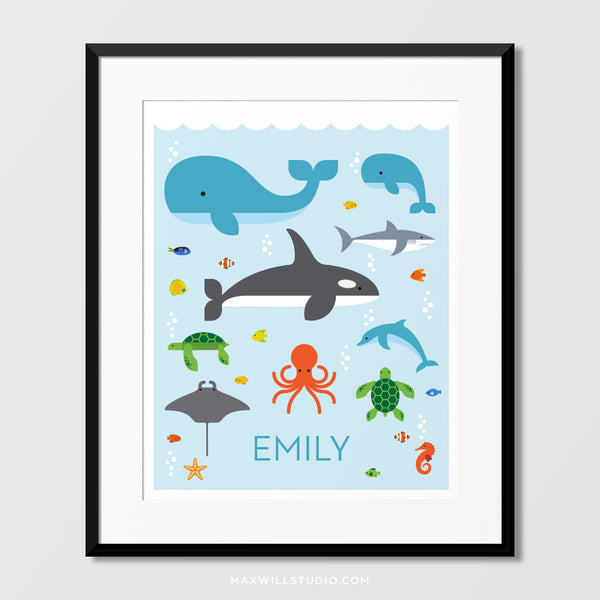 Ocean Animals Wall Art (Personalized)
