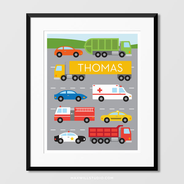 Road Vehicles Wall Art (Personalized)