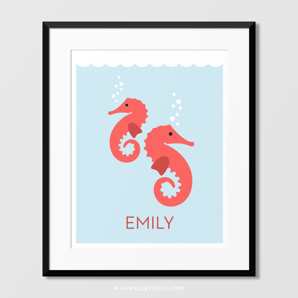 Seahorses Wall Art (Personalized)