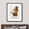 Squirrel on Tree Stump Wall Art (Personalized)