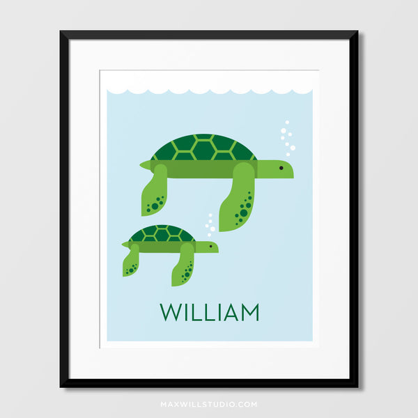 Sea Turtles Wall Art (Personalized)