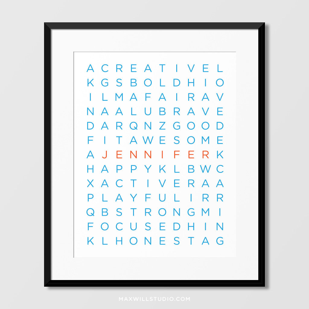 Wordfind Puzzle Wall Art (Personalized)