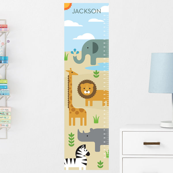 Safari Animals Growth Chart Wall Decal (Personalized)