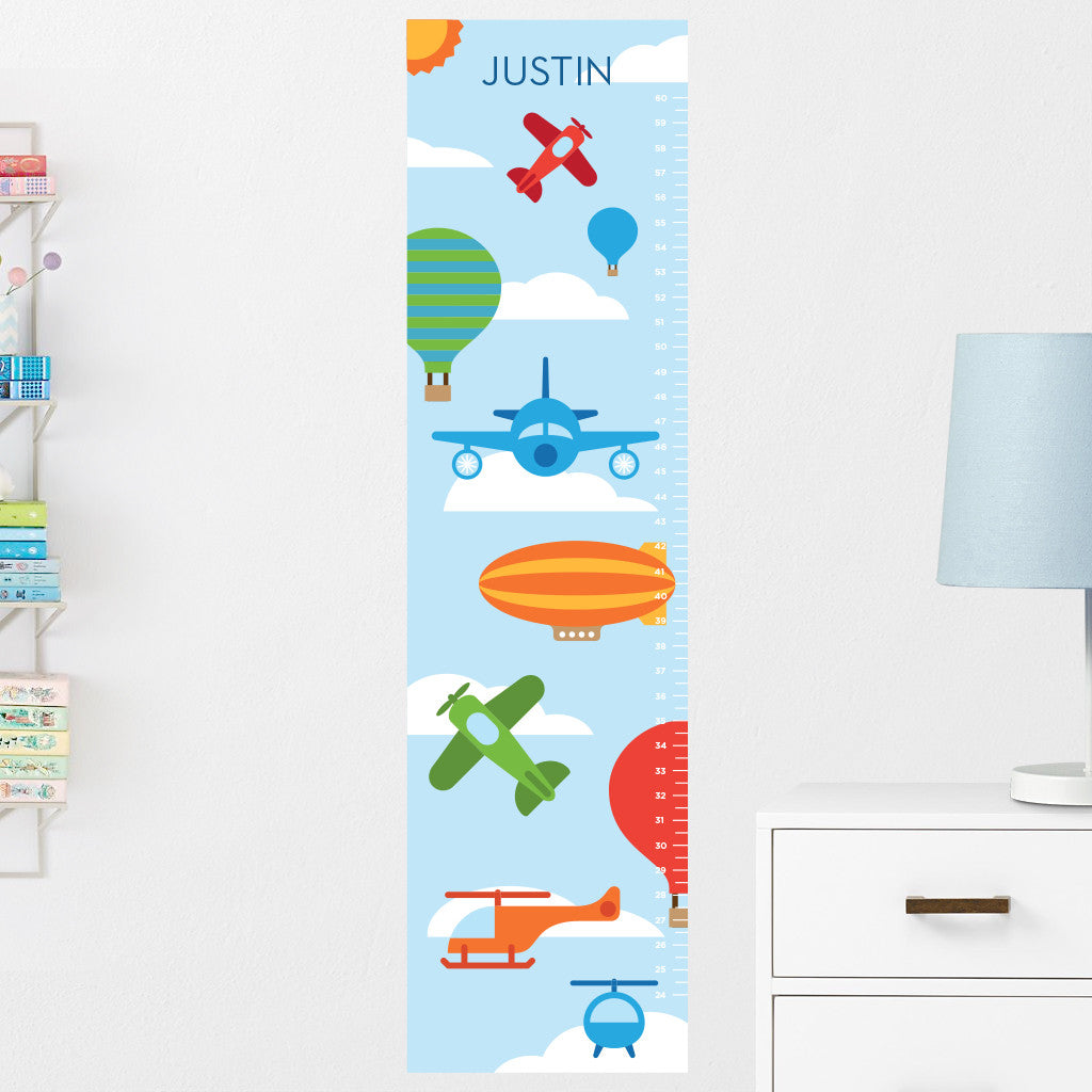 Air Vehicles Growth Chart Wall Decal (Personalized)